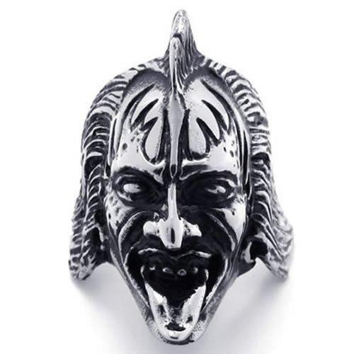 KONOV Bijoux Bague Homme - Tête de mort - Crâne Gothique Diable - Motard Biker - Tribal - Acier Inoxydable - Anneaux - Fantaisie - pour Homme - Couleur Noir Argent