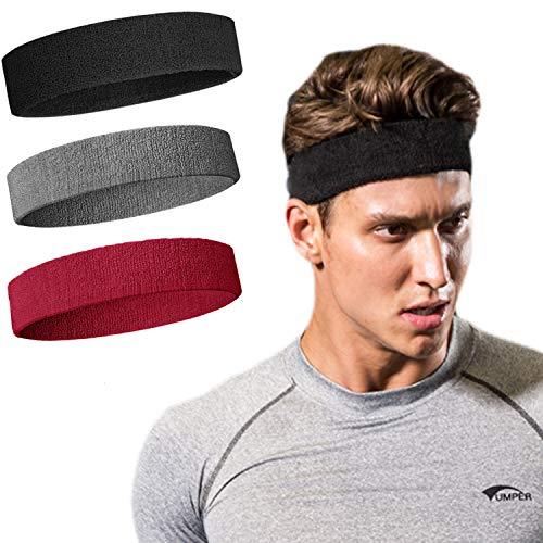 Sweatband Headband/ Wristband Perfect for Basketball, Running, Football, Tennis-3PCS Terry Cloth Athletic Sweatbands Fits to Men and Women