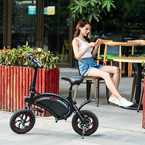 Windgoo Electric Scooter 12 inch 36V Folding E-bike with 6.0Ah Lithium Battery, City Bicycle Max Speed 30 km/h, Disc Brake (Black)