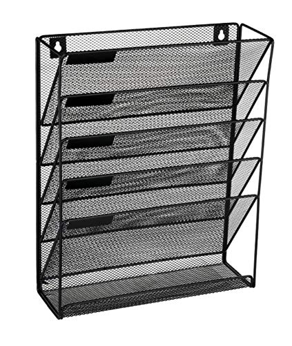 Denozer 6 Tier Wall Mount File Holder Organizer Hanging Magazine Rack ()