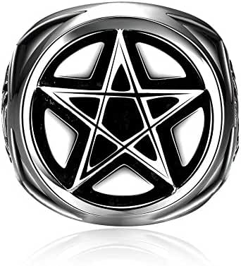 Godyce Supernatural Pentagram Ring for Men Size 8-12 - Titanium Steel Jewelry With Gift Box