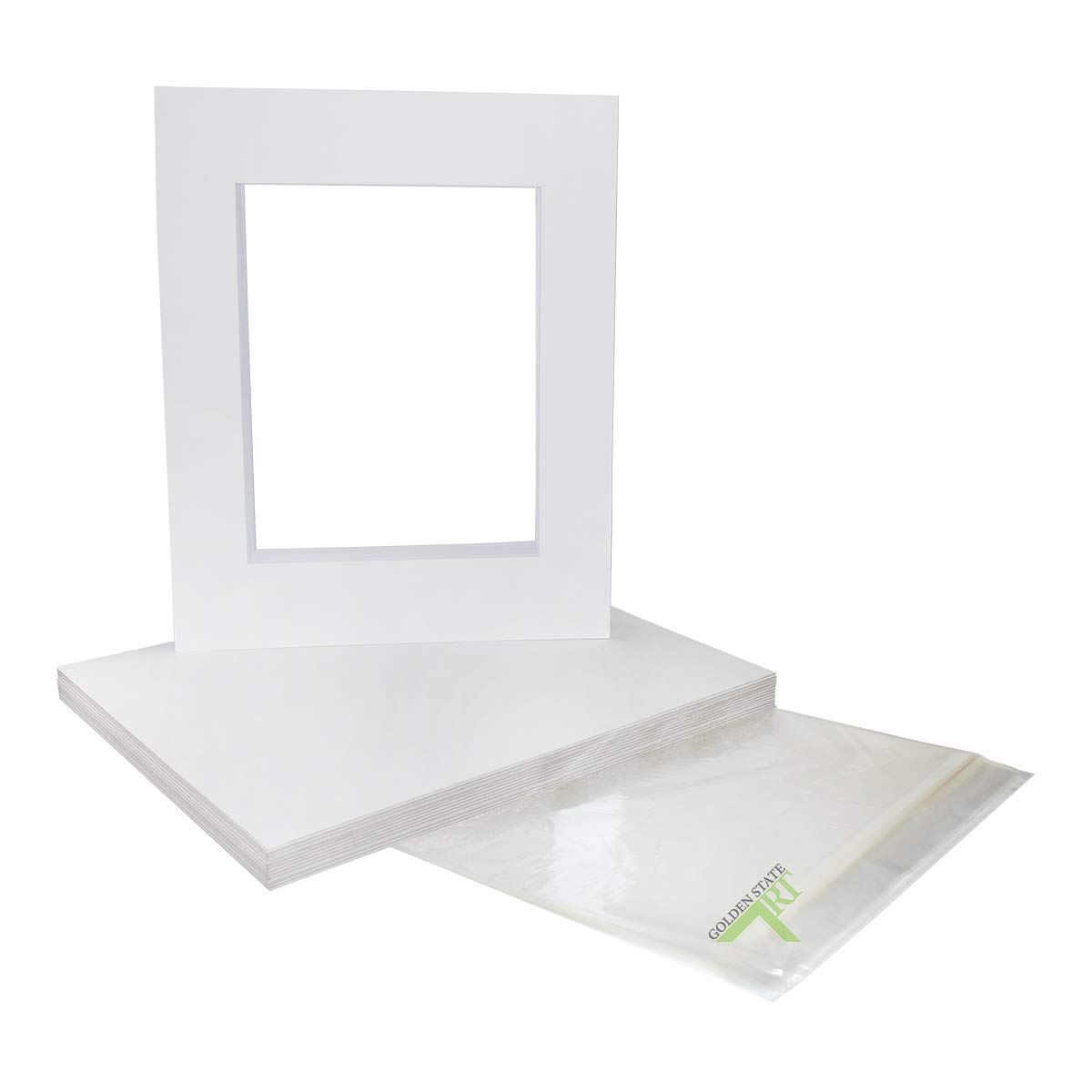 Golden State Art, Pack of 25 White Pre-Cut 16x20 Picture Mat for 11x14 Photo with White Core Bevel Cut Mattes Sets. Includes 25 High Premier Acid Free Mats & 25 Backing Board & 25 Clear Bags by Golden State Art