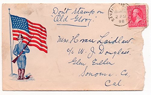 (US Postal Cover 1898 San Francisco,CA June 17,1898 Old Glory Drawing 2 Cent US Postage Stamp Scott #252)