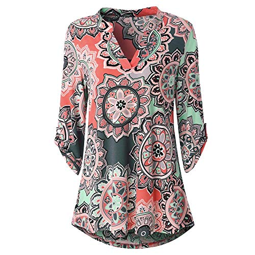 HGWXX7 Women Tops Long Sleeve Floral Printed V-Neck Casual Tunic Blouses T-Shirt(S,Watermelon ()