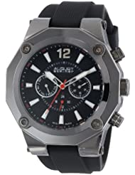 August Steiner Mens AS8080BK Swiss Multi-Function Watch with Black Silicone Strap