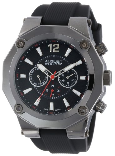 August Steiner Men's AS8080BK Swiss Multi-Function Watch with Black Silicone Strap