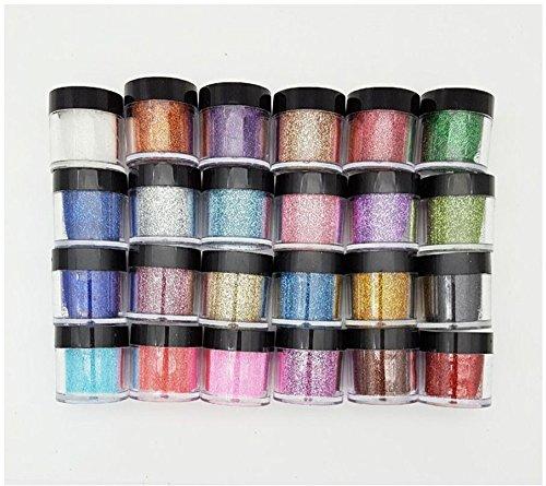 XICHEN 24 Color Glitter Powder Dust Nail Art glitter powder Tips decoration Jumbo Size (Acrylic Glitter Powder)