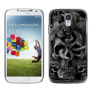 Plastic Shell Protective Case Cover || Samsung Galaxy S4 || Skull Rock Roll Metal Ink Tattoo Black @XPTECH