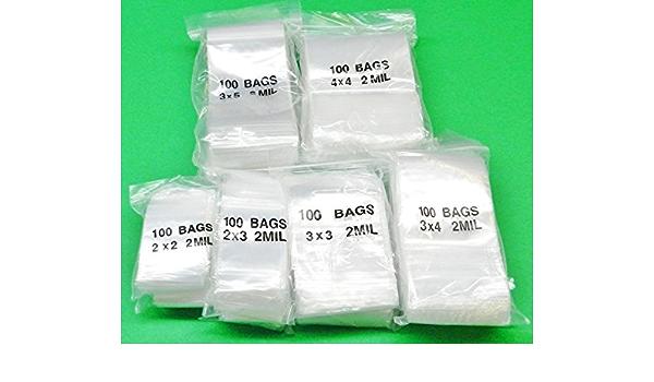 """100 Zipperlock small Plastic Jewelry BAGS 1.5x2/"""",2x2,2x3/"""",3x3,3x4,3x5/"""",4x4 2MIL"""