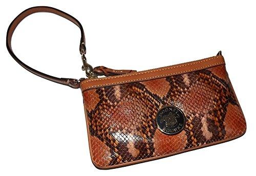 (Dooney & Bourke Snakeskin Embossed Leather Large Slim Wristlet Clutch Brown)
