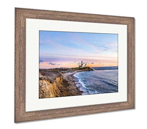 Ashley Framed Prints Long Beach Montauk Point Light Lighthouse Long Island New York, Wall Art Home Decoration, Color, 34x40 (Frame Size), Rustic Barn Wood Frame, (Long Beach Island Lighthouse)
