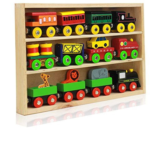Around The Town 12 Piece Wooden Engines & Train Cars, Compatible With Thomas Wooden Railway, Brio And Most Other Brands