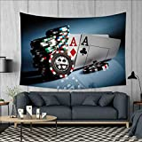 smallbeefly Poker Tournament Decorations Tapestry Wall Tapestry Gambling Chips and Pair Cards Aces Casino Wager Games Hazard Art Wall Decor 60''x51'' Multicolor