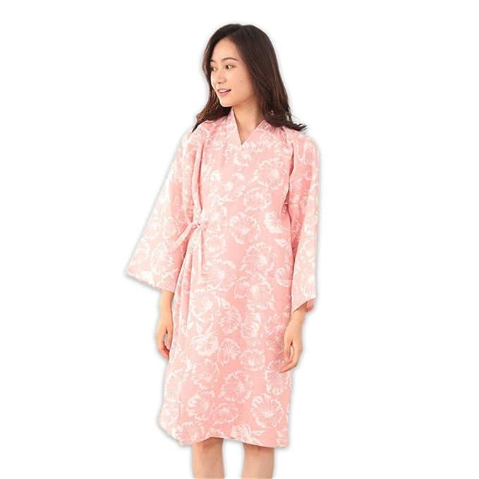YTFOPLK Batas De Kimono con Flores Frescas Y Sencillas, Gasa, Algodón, Manga Larga