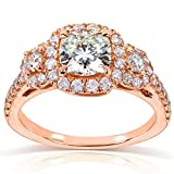Forever One Cushion Moissanite and Diamond Engagement Ring 1 7/8 CTW in 14k Rose Gold