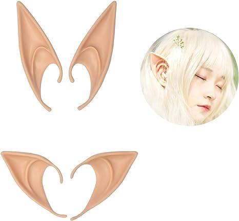 2 Pairs Latex Elf Ears Cosplay Masks Fairy Goblin Ears Halloween Costume Props