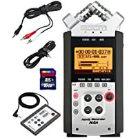 Zoom H4n Handy Mobile 4-Track Recorder - Bundle w/16GB Class 10 SDHC Card, Stereo 3.5mm Mini Phono Male to Two RCA Males Y-Cable, 3.5mm to 3.5mm Stereo Output Cable, Zoom RC-4 Remote Control