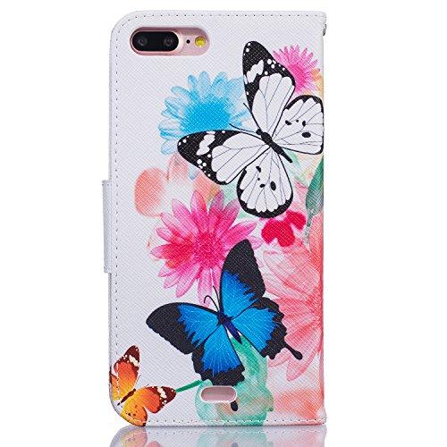 Voguecase® für Apple iPhone 7 Pro hülle,(Aquarell Schmetterling 01) Kunstleder Tasche PU Schutzhülle Tasche Leder Brieftasche Hülle Case Cover + Gratis Universal Eingabestift