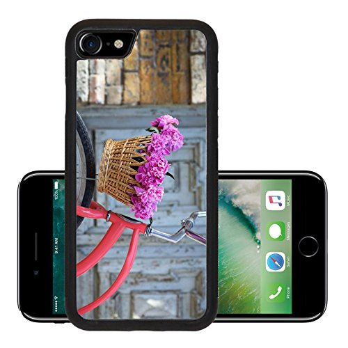 Luxlady Premium Apple iPhone 7 Aluminum Backplate Bumper Snap Case iPhone7 IMAGE 37461223 Vintage bicycle with basket with peony flowers near the old wooden door (Peony Basket)