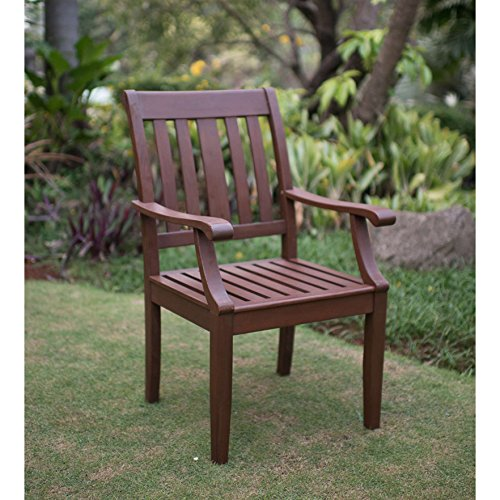 Classic Craftsman Style Patio/ Outdoor/ Lawn Dining Arm Chair in Oil Based Stain Natural Brown Finished Mohagany Wood Construction with Curved Armrest and Back For Added Comfort (Craftsman Style Patio)