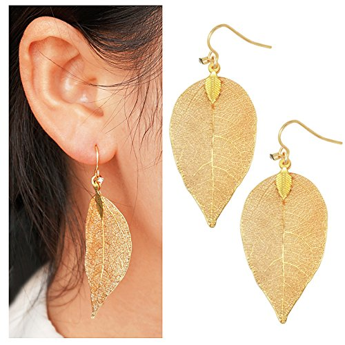 Gleamart Delicate Filigree Leaf Drop Earrings Lightweight Metal-plated Leaves Ear Studs Long Dangle Earrings Gold