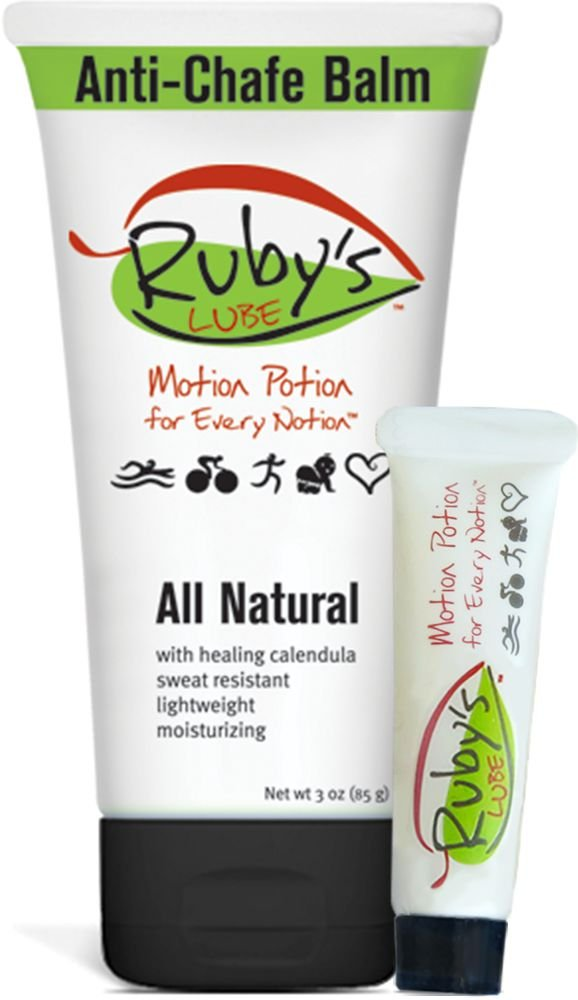 Ruby's Lube All Natural Anti-Chafe, Anti-Blister Balm | Made in USA | Water and Sweat Resistant | Formulated and Tested by an 7 Time Ironman Winner - 3 oz Tube plus Mini Tube