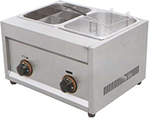 Wgwioo Gas Desktop Oden Cooker + Fryer, Commercial Stainless Steel Deep Fryer, Multifunctional Snack Equipment, Can Be Used for Snack Street