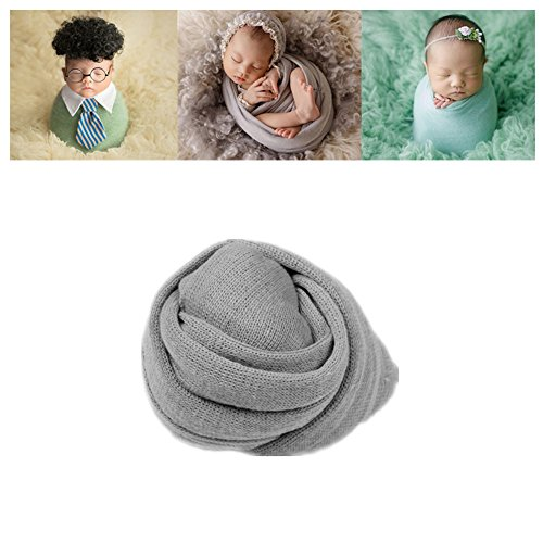 Newborn Baby Photo Props Blanket Stretch Knitted Wrap Swaddle for Boy Girls Photography Shoot (Grey) Medium