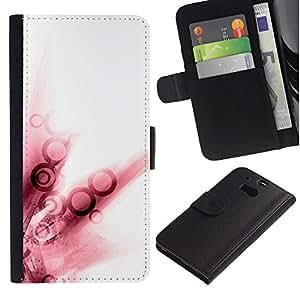 iBinBang / Flip Funda de Cuero Case Cover - Arte abstracto en blanco Anillo - HTC One M8