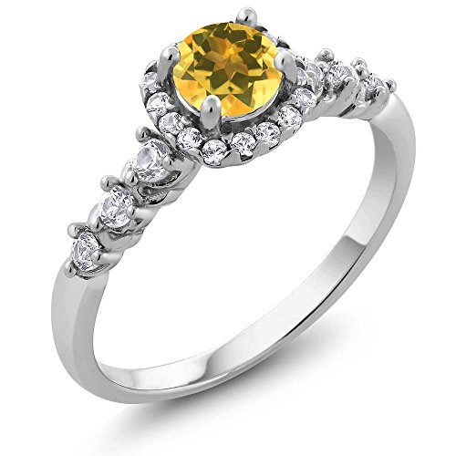 Sterling Silver Round Natural Yellow Citrine & White Topaz Gemstone Birthstone Women's Ring (0.87 cttw, Available in size 5, 6, 7, 8, 9) (Vintage Birthstone Rings compare prices)