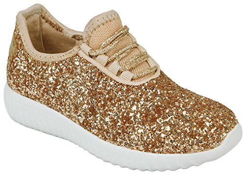 JJF Shoes Girls Toddlers Rosegold Fashion Metallic Sequins Glitter Lace up Light Weight Stylish Sneaker Shoes-5
