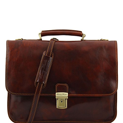 "8100294 - TUSCANY LEATHER: TORINO - Serviette en cuir pour portable 15"", marron"