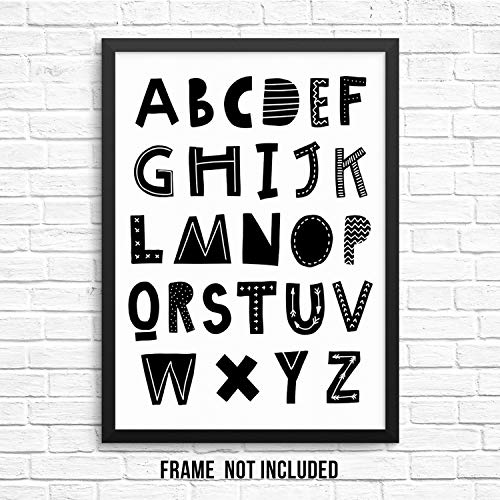 - Kids ABC Wall Decor Poster Art Print - Children's Cheerful Scandinavian Alphabet Wall Poster -11