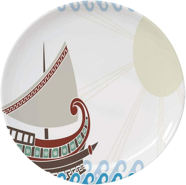 """Ylljy00 Toga Party 10"""" Dinner Plate,Ornate Ship Floating on Classic Greek Style Ocean Waves Faded Sun Ceramic Decorative Plates,Dining Table Tabletop Home Decor,Blue Redwood Umber"""