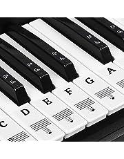 Natuce Piano stickers voor 37/49/54/61/88 toetsen, pianotoetsen, stickers, piano keyboard noten stickers, transparant verwijderbaar, premium piano keyboard sticker, complete set