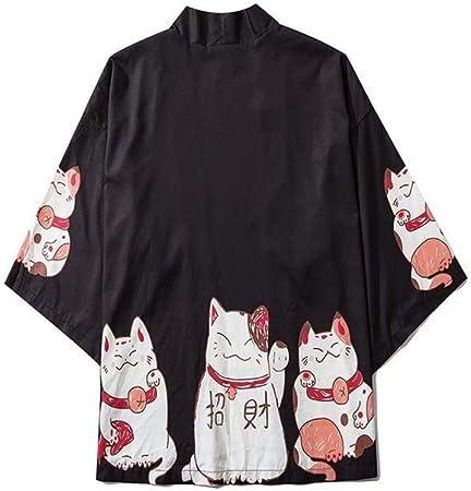 N/ A Japonesa De Dibujos Animados Traje Suerte Gato Camisa Suelta Amplia Protección Solar Kimono RZTZDM (Color : Black, Size : M): Amazon.es: Hogar