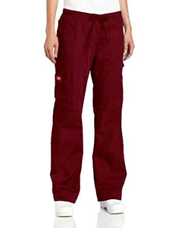 Dickies Scrubs Women's Tall Everyday Scubs Junior Fit Flare Leg Pant, Wine, X-Large