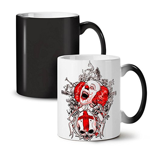 Senior Citizen Day Costume Ideas (Death Horror Clown Evil Freak Black Colour Changing Tea Coffee Ceramic Mug 11 oz | Wellcoda)