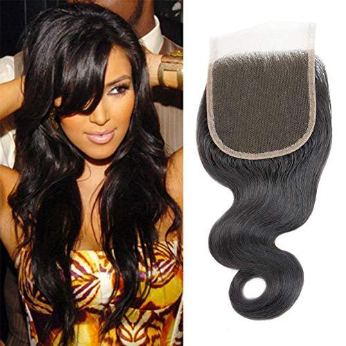 Selina 8 Inch Brazilian Body Wave Closure Free Part Lace Closure 4X4 Unprocessed Human Hair Natural Black Color Virgin Human Hair (8Body, Free part)