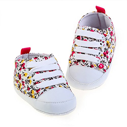 Zhhlinyuan Bebé Breathable Canvas Sneaker Antiskid Soft Cute Casual Toddler Shoes Red