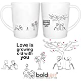 BOLDLOFT Grow Old with You His & Hers Coffee Mugs-Anniversary Gifts for Him Her Couples Husband Wife Wedding Anniversary Gifts Couples Gifts His and Hers Gifts Dating Anniversary Couples Mugs Set