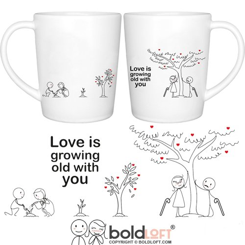 BOLDLOFT Grow Old with You His & Hers Coffee Mugs|Christmas Gifts for Boyfriend,Girlfriend|Anniversary Gifts for Him or Her|Wedding Anniversary Gifts for Couples Husband Wife|Couples Gifts Mugs