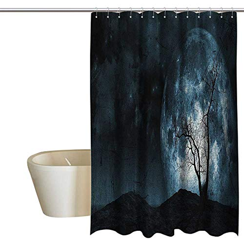 MaryMunger Fantasy Floral Shower Curtain Night Moon Sky with Tree Silhouette Gothic Halloween Colors Scary Artsy Background Shower Hooks are Included W72 x L96 Slate -