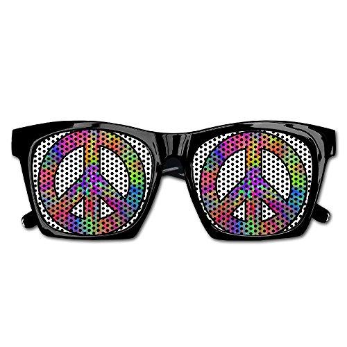 Tie Dye Peace Sign Unisex Polarized Party Sunglasses Resin Frame Eyewear Favor Mesh Lens Sun - Slogan Eyewear