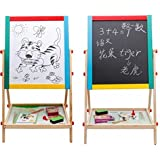 Lado Kids Children 2 in 1 Wooden Easel (SIL-13912) Deluxe Version Free 54pc Magnetic Alphabets/Numbers/Symbols Educational Toys Double Sided (66cm)