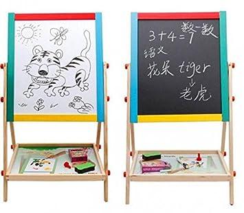 Lavagna con cavalletto 2 in 1 per bambini, colore legno, lavagna per apprendimento + extra. 2 in 1 Easel w/ Free 54pc Magnetic Alpha/Numbers Lado
