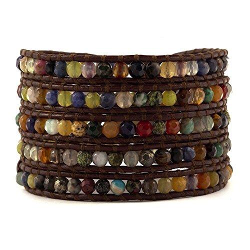 Chan Luu Multi Stone on Brown Leather Wrap Bracelet by Chan Luu