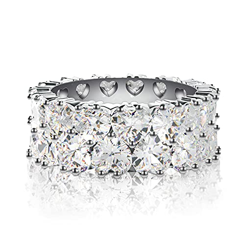 UHIBROS 2Rows Heart Cut Eternity Ring 14K Silver Plated Cubic Zirconia Wide Wedding Band Fashion Rings for Women