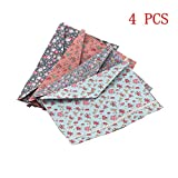 4 PCS Fresh Floral Pattern A4 Size Paper Document Folder with Snap Button for Office Home School Stationery
