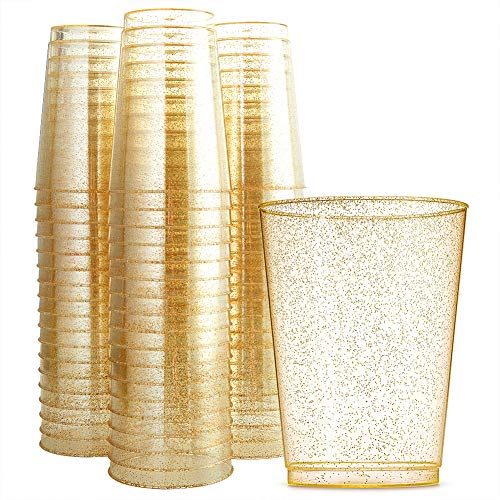 WDF 100pcs 12OZ Gold Cups,Disposable Gold Glitter Plastic Cups-Premium Wedding Cups-Party Cups (Gold Glitter -